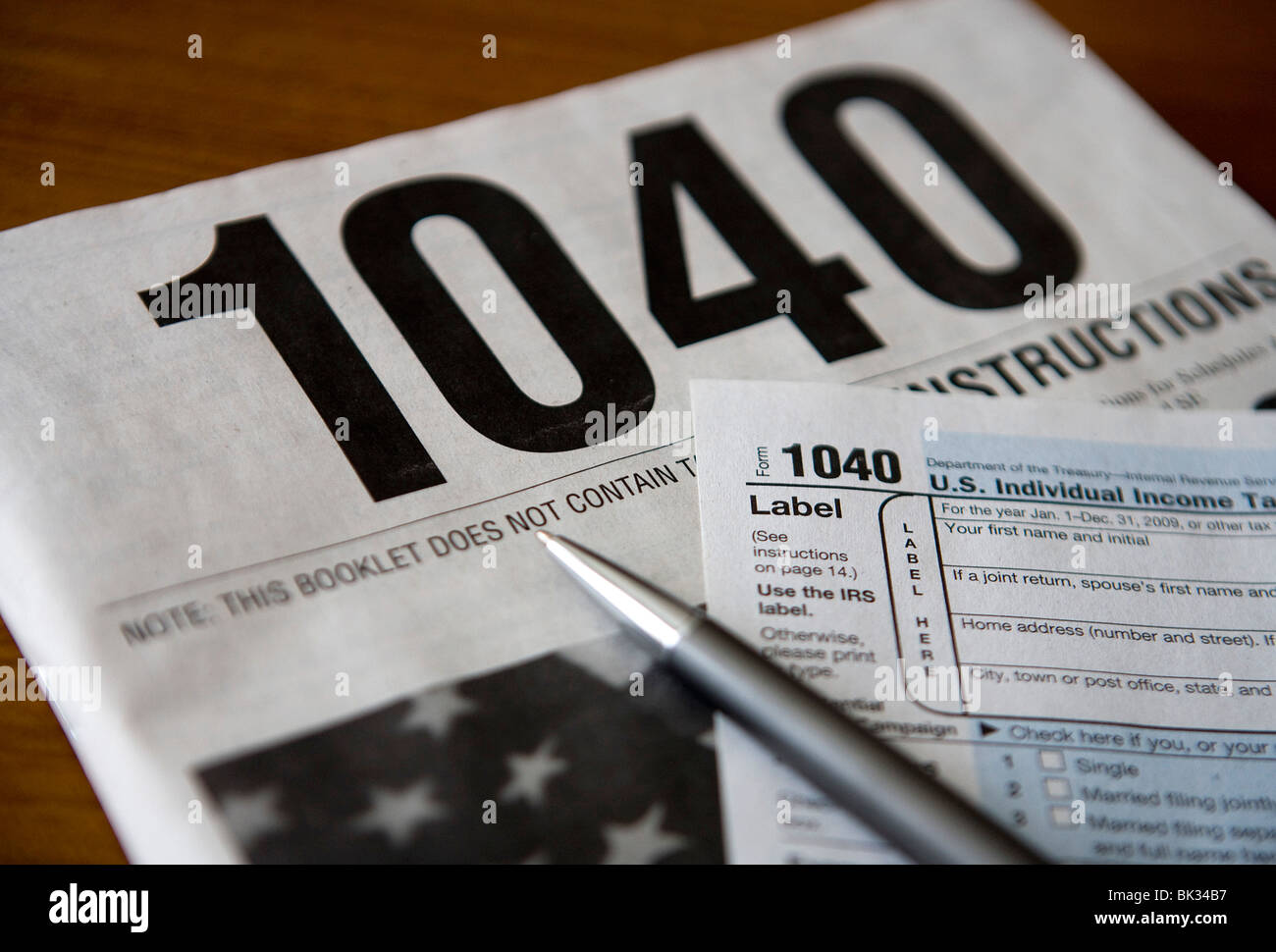 A United States Income Tax 1040 form. - Stock Image