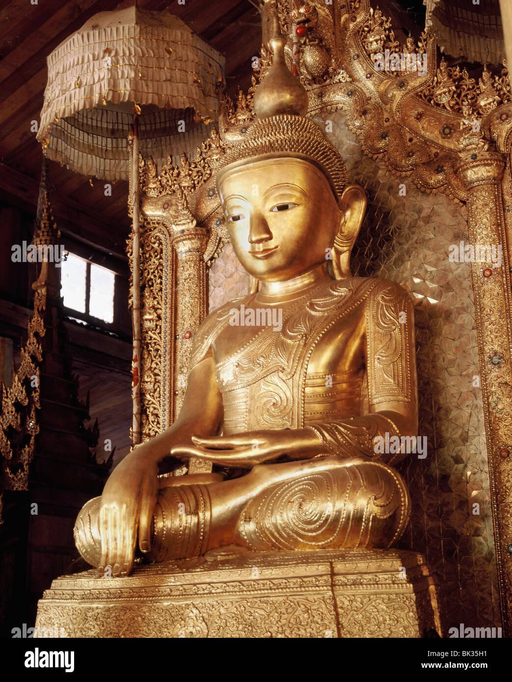 Nineteenth century Shan style lacquered Buddha image, Nga Pae Kyaung Monastery, Ywama , Inle Lake, Shan States, - Stock Image
