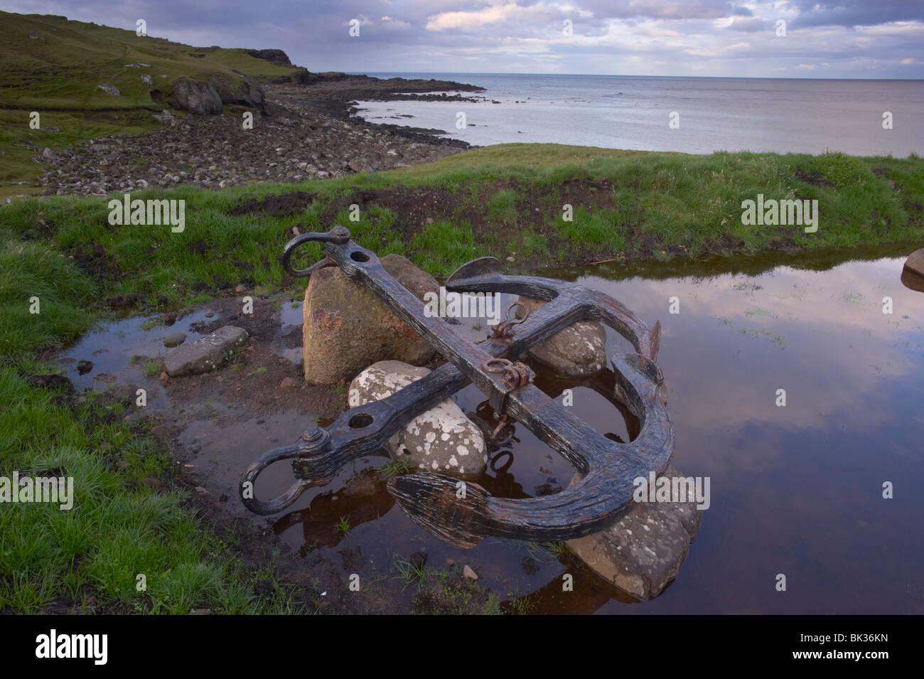 Shipwreck anchor in Soltuvik bay, west coast of Sandoy, Faroe Islands (Faroes), Denmark, Europe - Stock Image