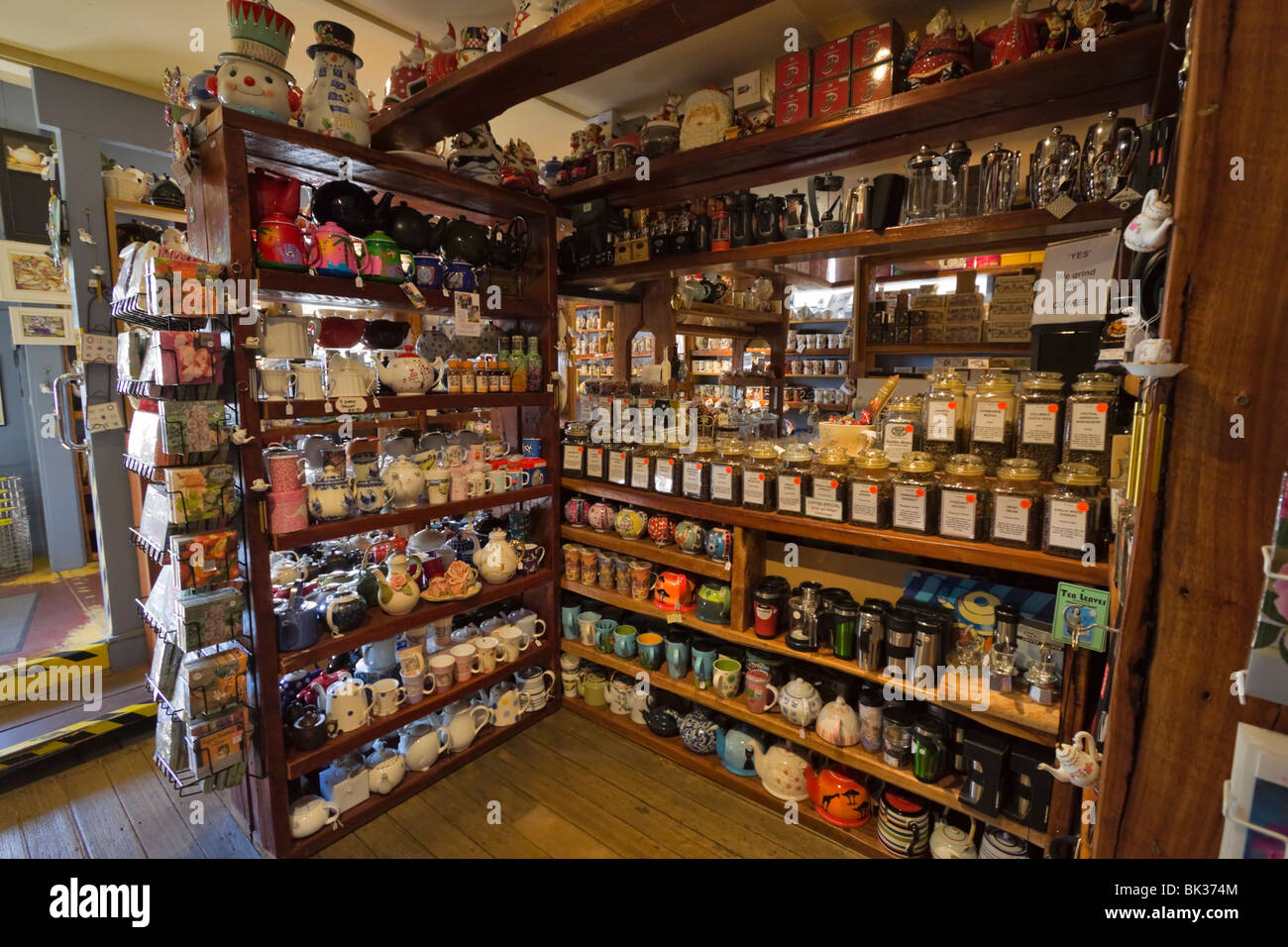 Interior of Tea Leaves, a boutique selling teas and teapots in Sassafras, Victoria, Australia - Stock Image