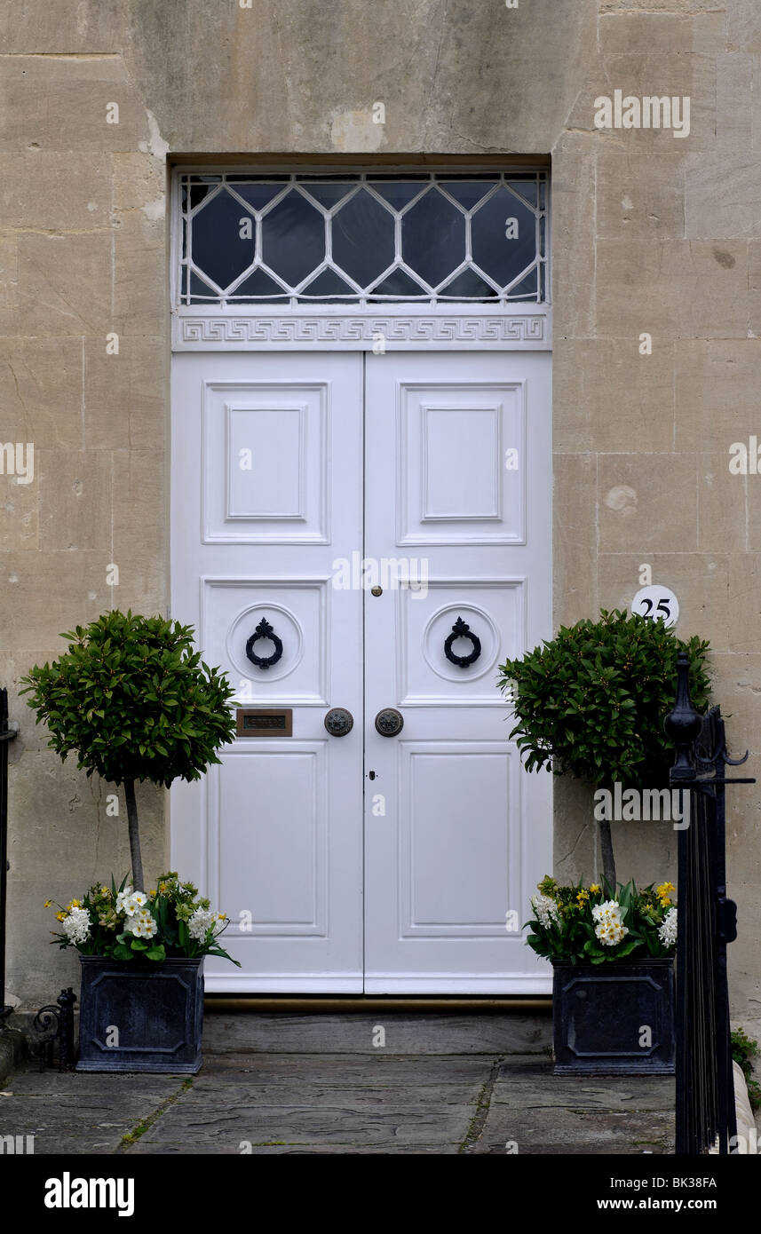 Front Door In The Royal Crescent, Bath, Somerset, England, UK   Stock