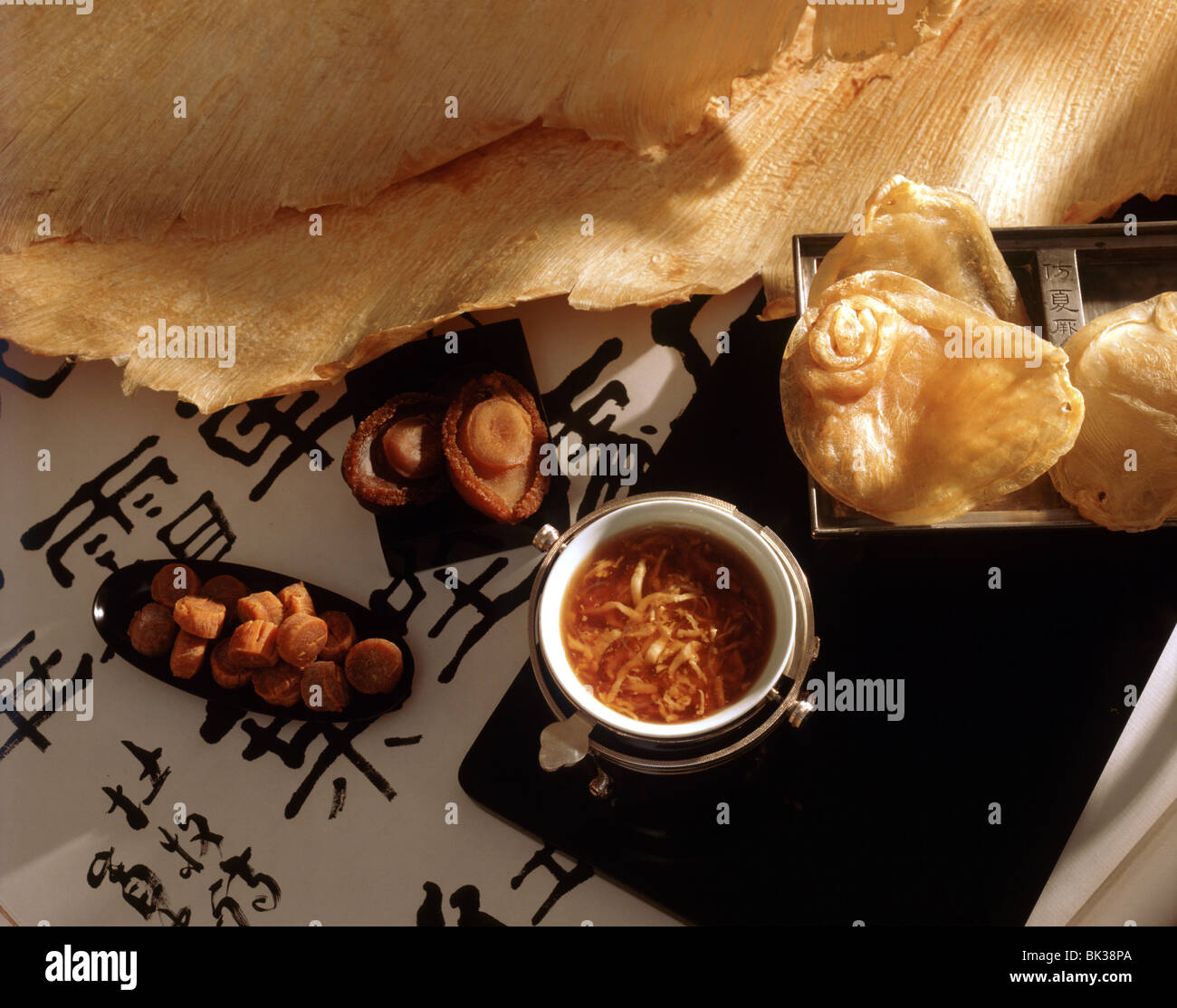 Shark fin soup and dry fins and abalone, China, Asia - Stock Image