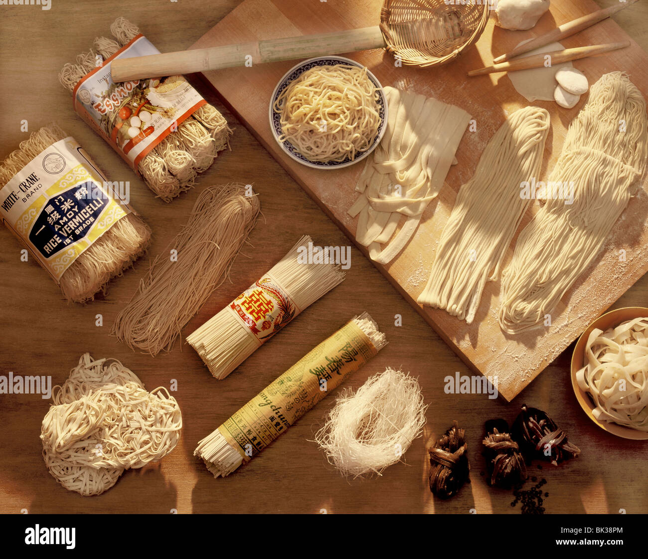 Various kinds of Chinese noodles, China, Asia - Stock Image