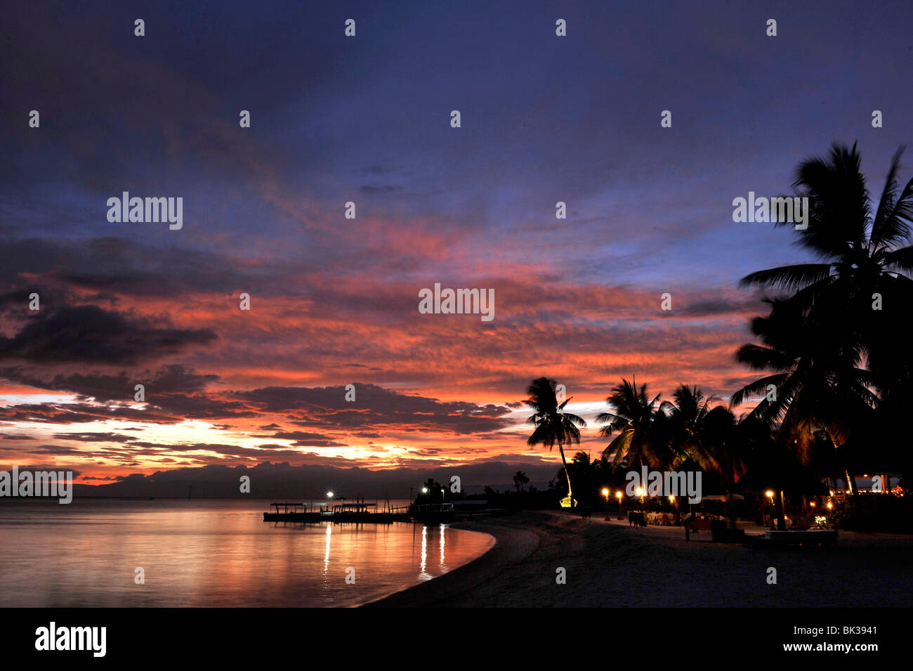 Sunset view of the beach, Badian Island Resort and Spa in Cebu, Philippines, Southeast Asia, Asia - Stock Image