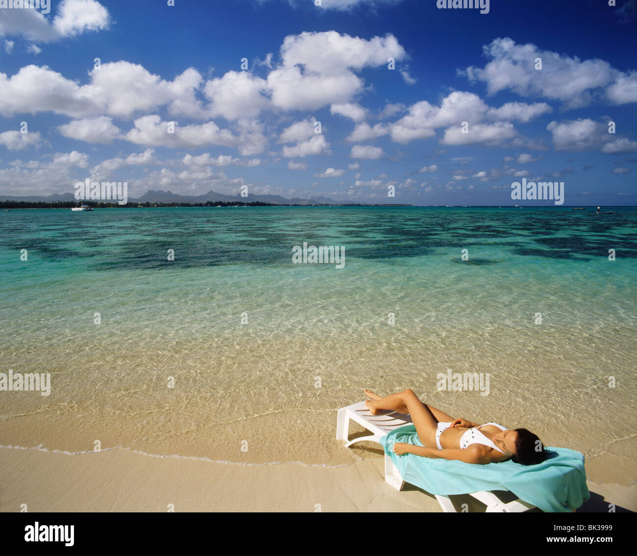 Beach at the Club Med at La Pointe Aux Canonniers, Mauritius, Indian Ocean, Asia - Stock Image