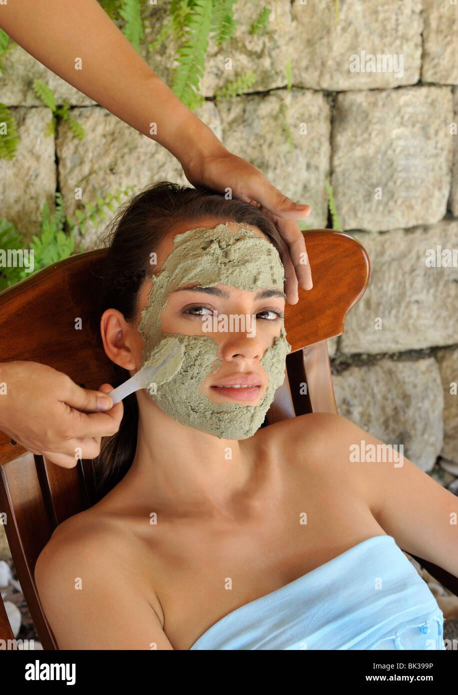 Phytomer marine mud facial, Mogambo Spa, Cebu, Philippines, Southeast Asia, Asia - Stock Image