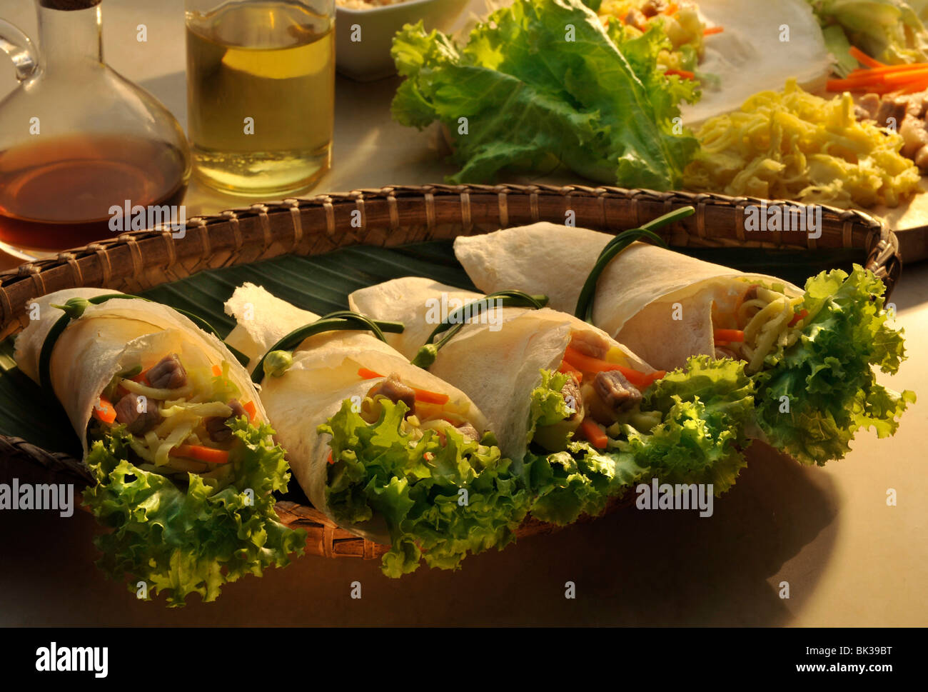 Close-up of spring rolls - Stock Image