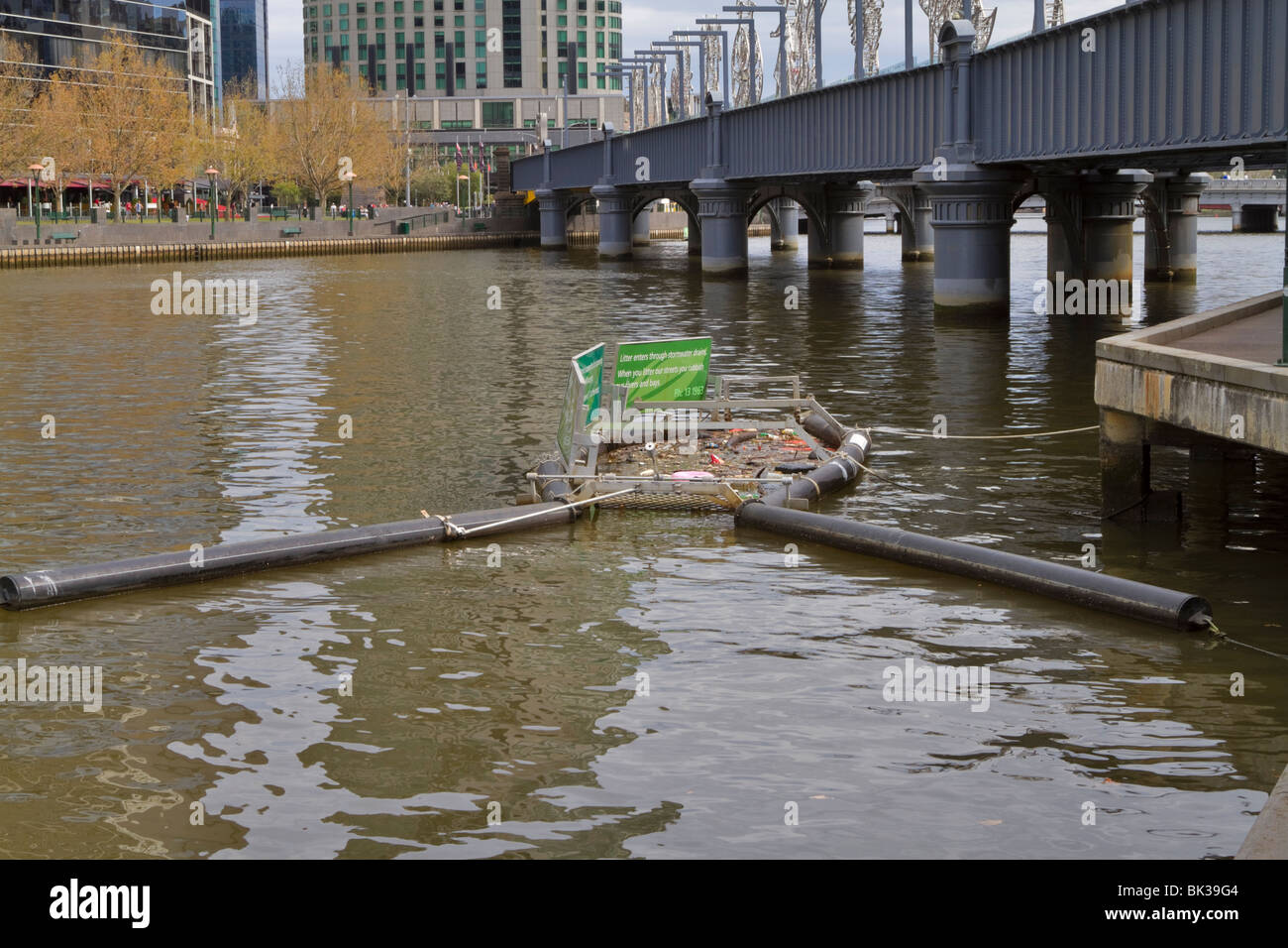 Litter trap on the Yarra River, Melbourne, Victoria, Australia. - Stock Image