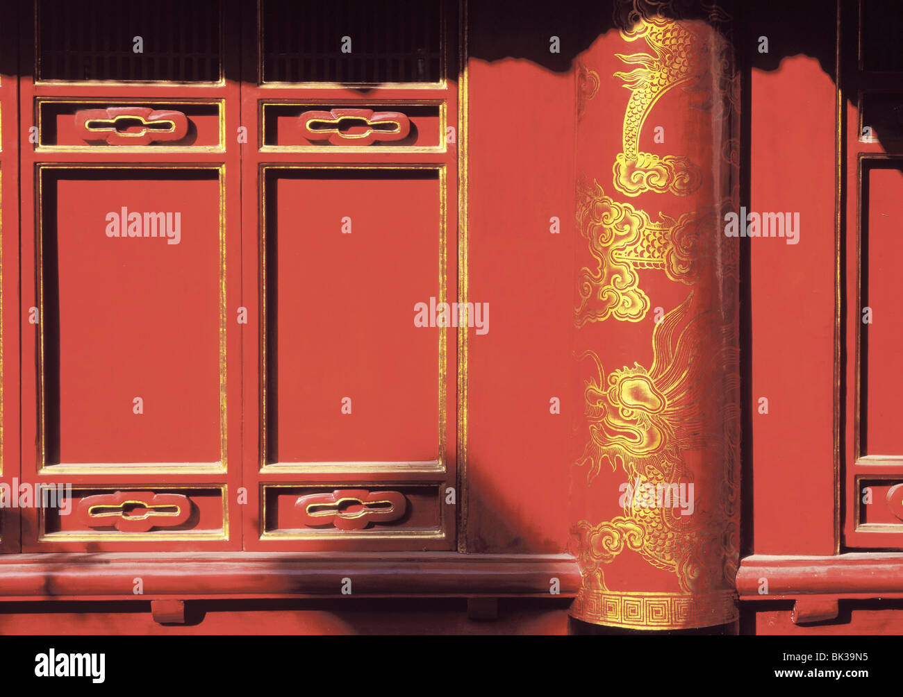Lacquered doors, Temple of Literature, Hanoi ,Vietnam, Indochina, Southeast Asia, Asia - Stock Image