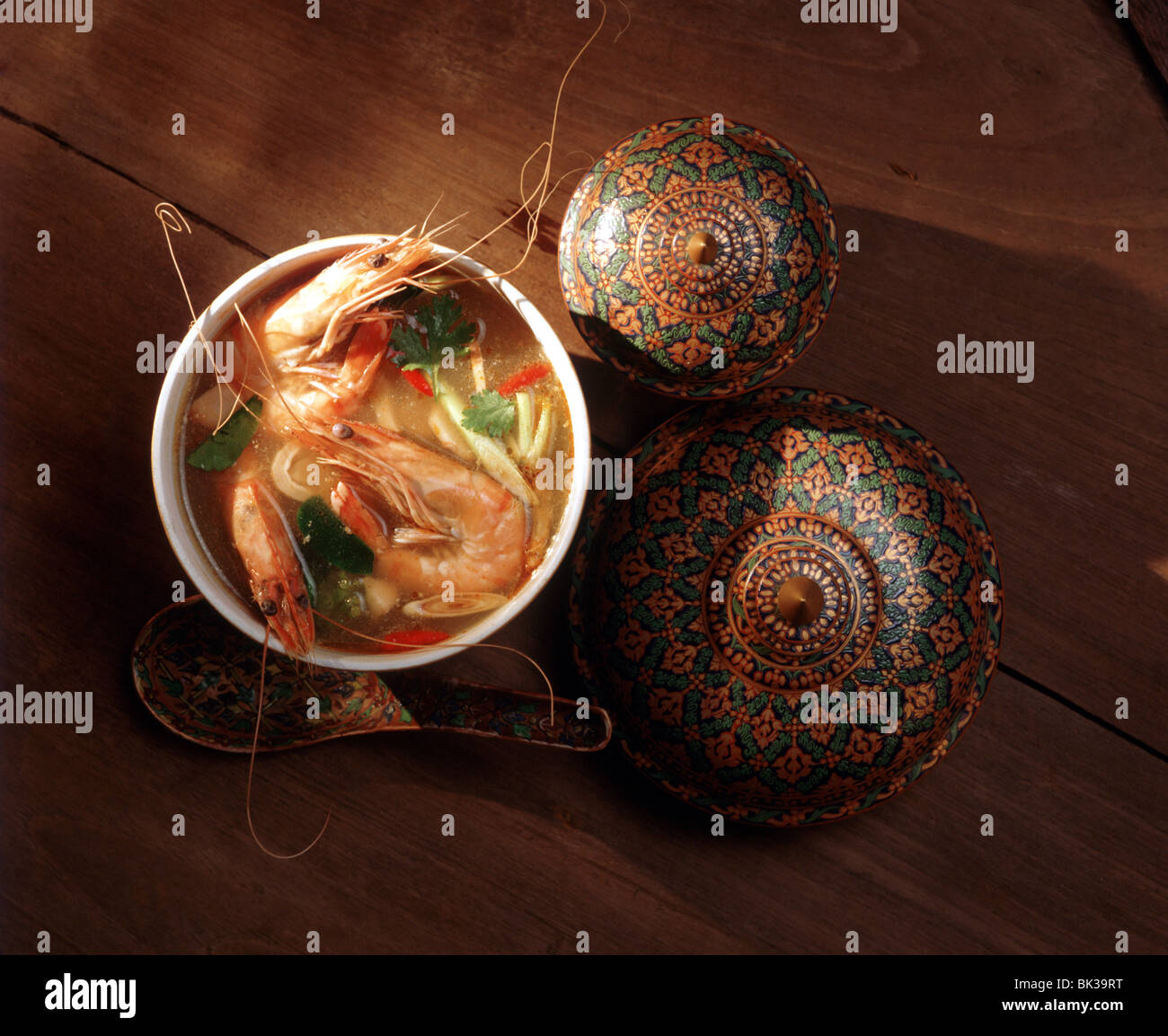 Tom Yum Goong, spicy soup with lemongrass and galangal, Thailand, Southeast Asia, Asia - Stock Image