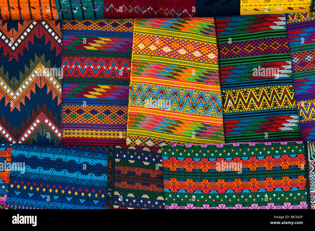 Textiles, Santiago Atitlan, Lake Atitlan, Guatemala, Central America - Stock Image