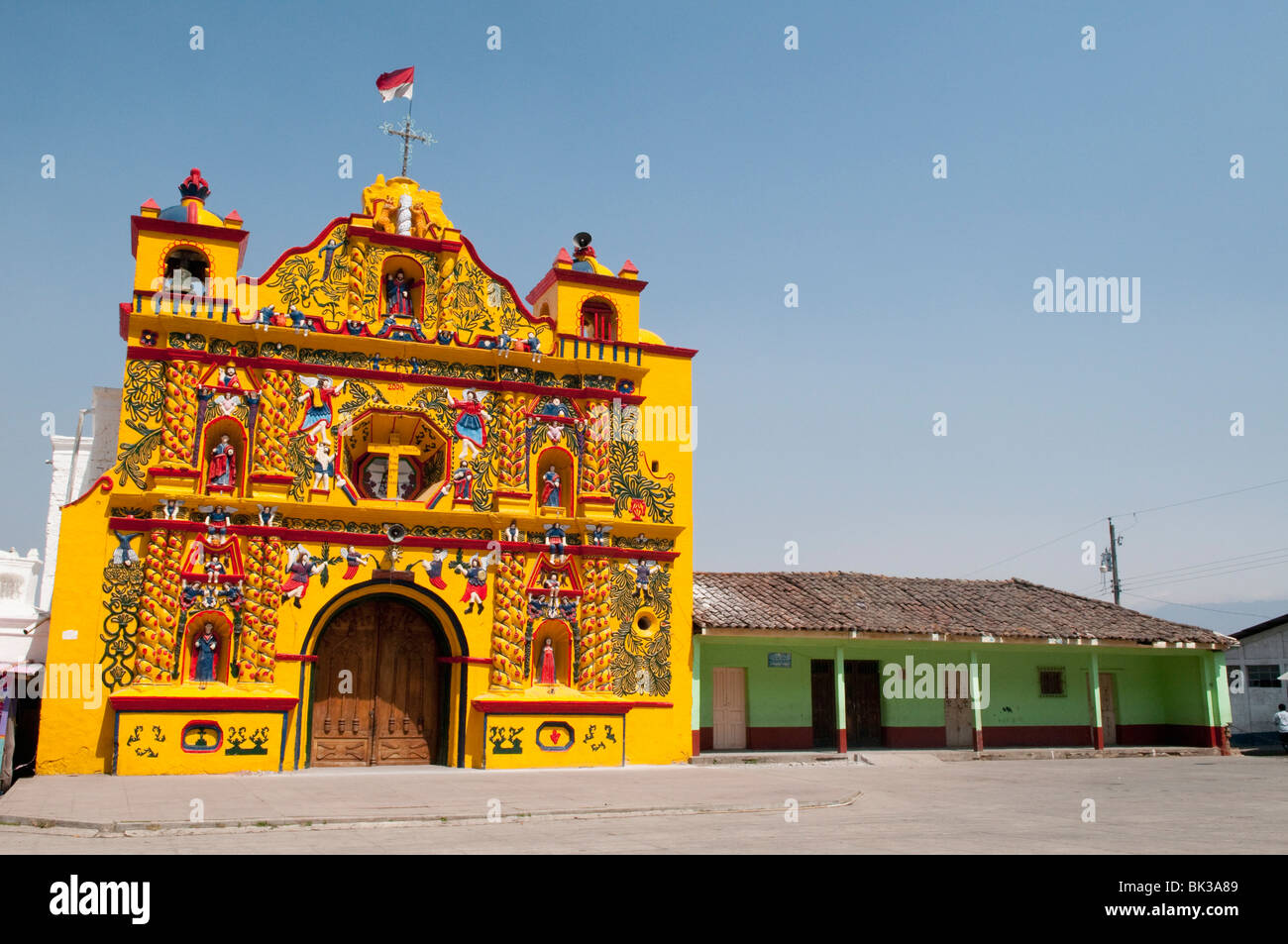 Church, San Andres Xecul, Guatemala, Central America - Stock Image