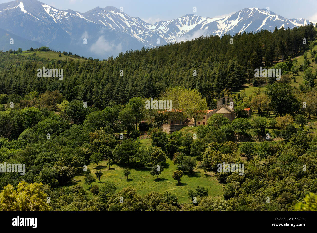 Mountain view near St. Marsal, Pyrenees Orientales, France, Europe - Stock Image