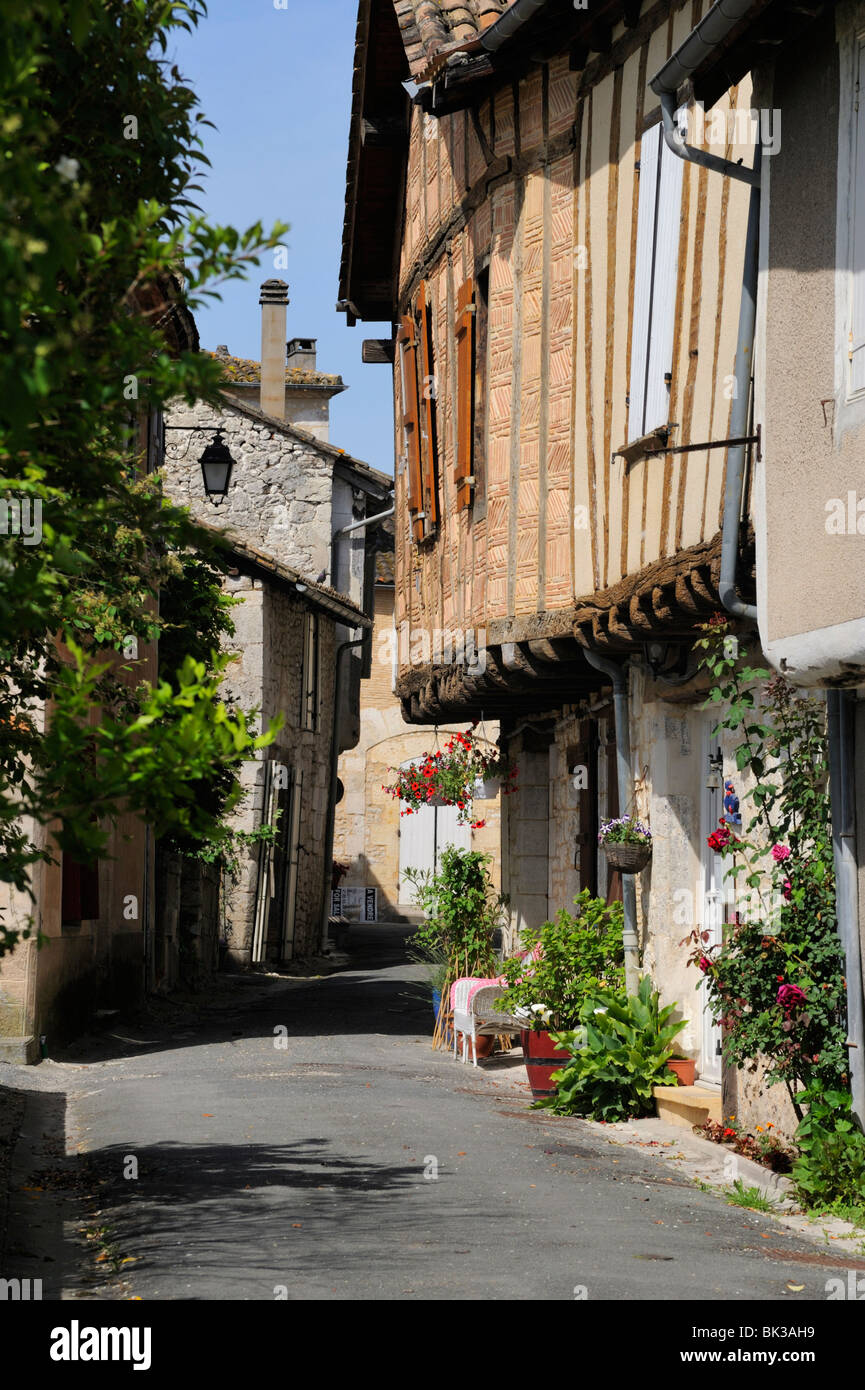 Street of medieval houses, Issigeac, Dordogne, France, Europe - Stock Image