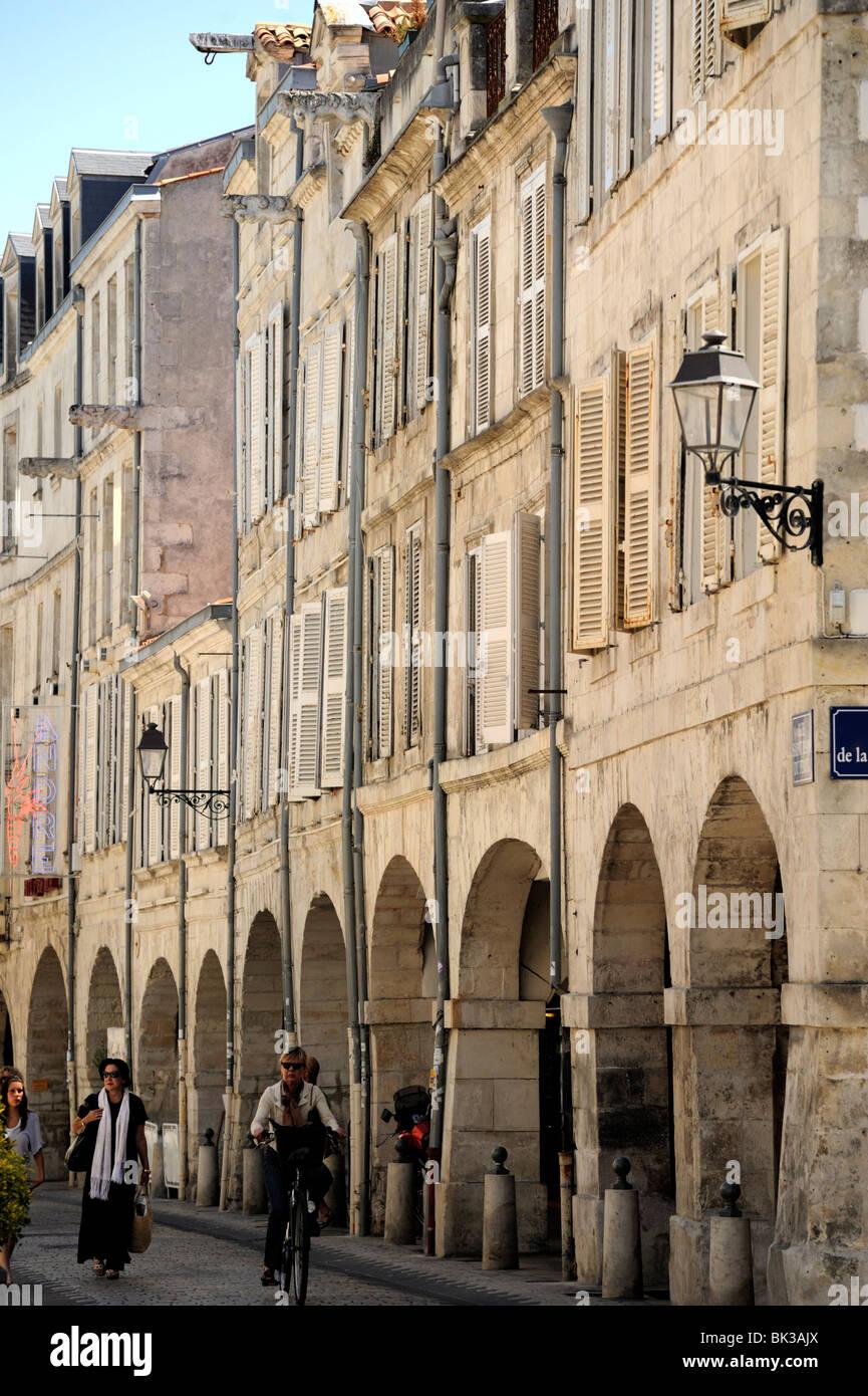 Arcaded street, La Rochelle, Charente-Maritime, France, Europe - Stock Image