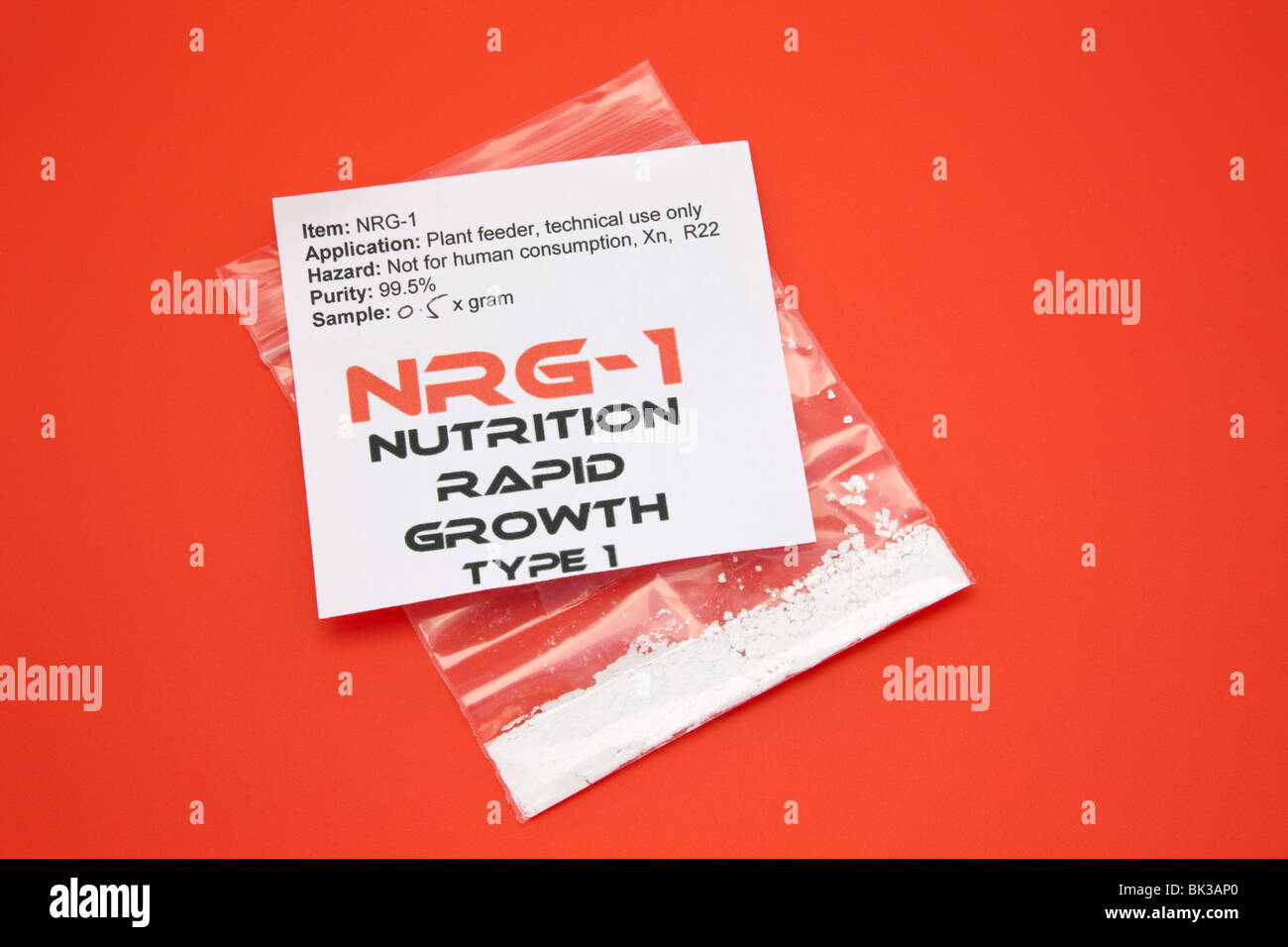 Britain. 0.5g packet of NRG-1 Nutrition Rapid Growth type 1 plant food, was popular as a legal high in UK. 99.5% - Stock Image