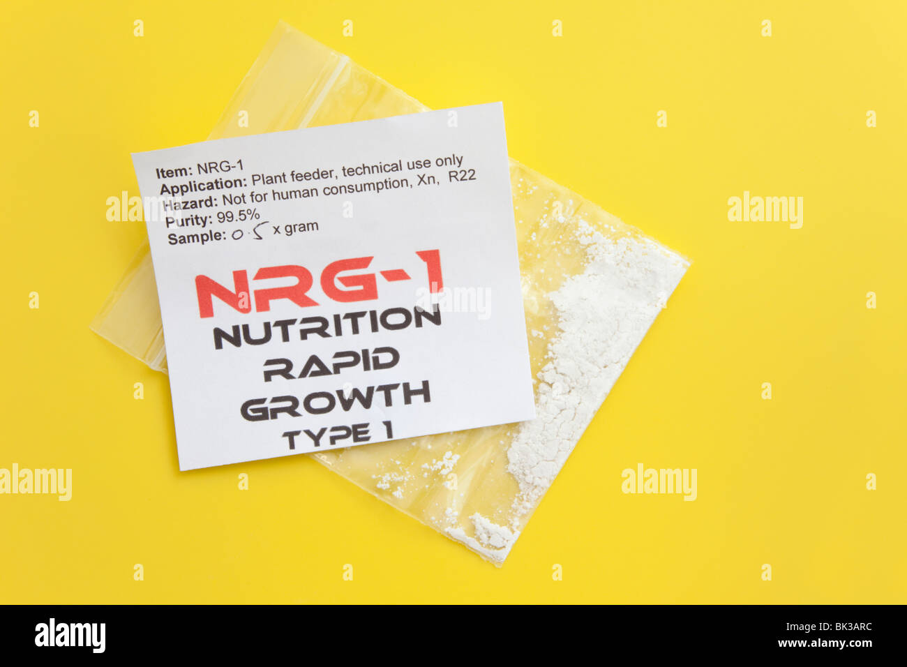 Britain, UK, Europe. 0.5g packet of NRG-1 Nutrition Rapid Growth type 1 plant food, popular as an illegal high in - Stock Image