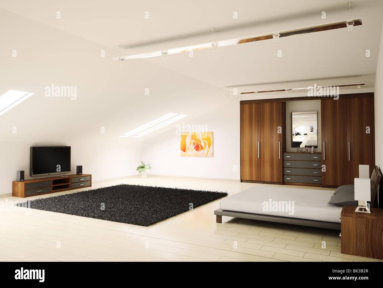 modern bedroom interior penthouse 3d render