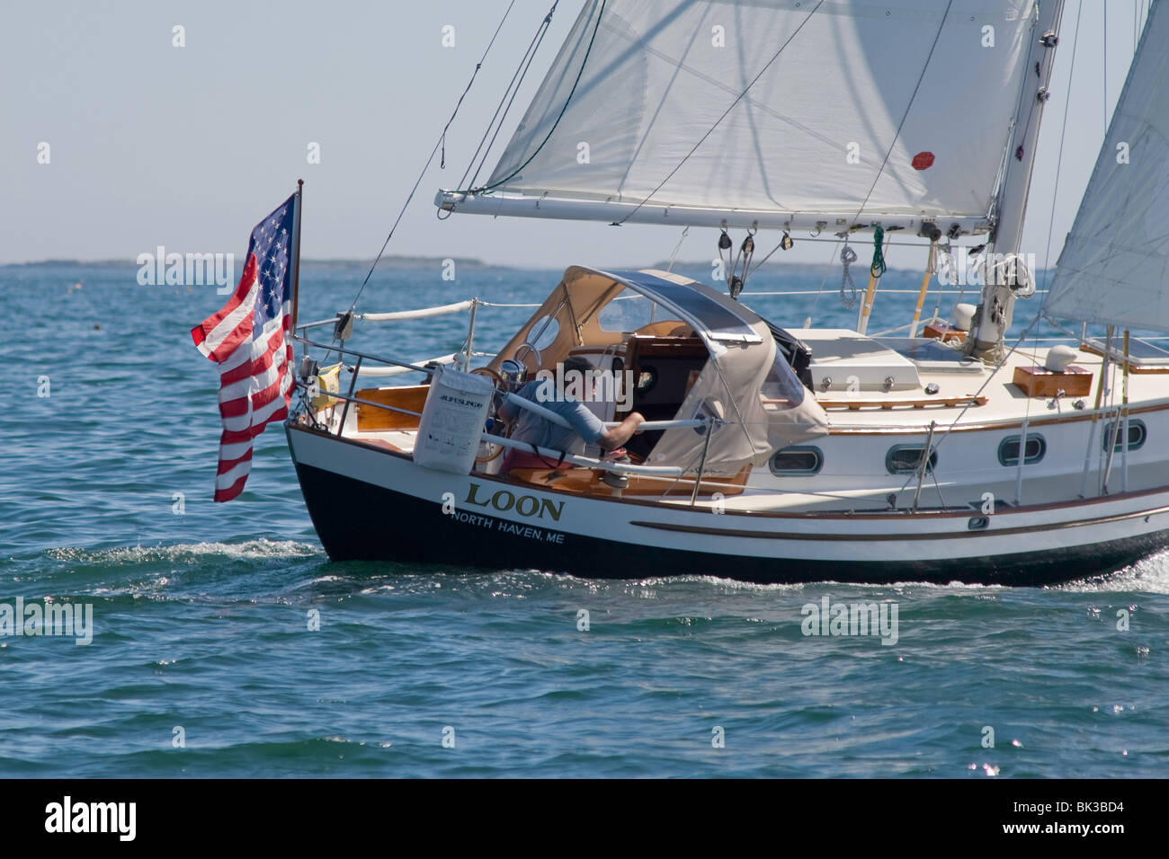 The Sloop LOON in a fresh breeze in West Penobscot Bay, Maine - Stock Image