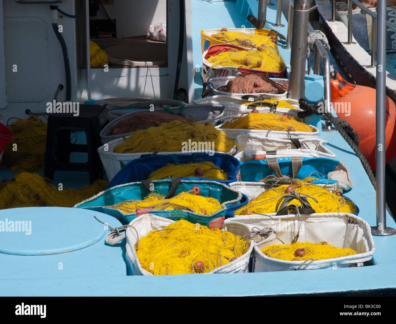 A fishing boat in the Harbour in Paphos, Cyprus Europe - Stock Image
