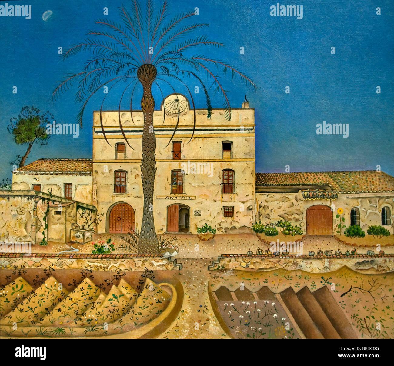 Joan Miri Spain Spanish Painter House with Palm Tree - Stock Image