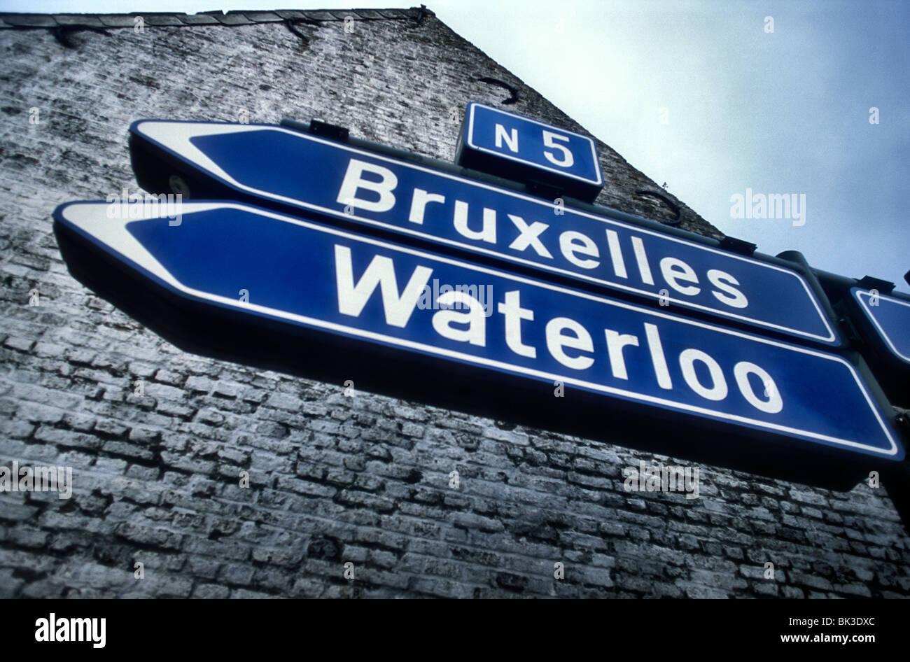 Road sign to Waterloo Belgium seen of Battle in 1815 - Stock Image