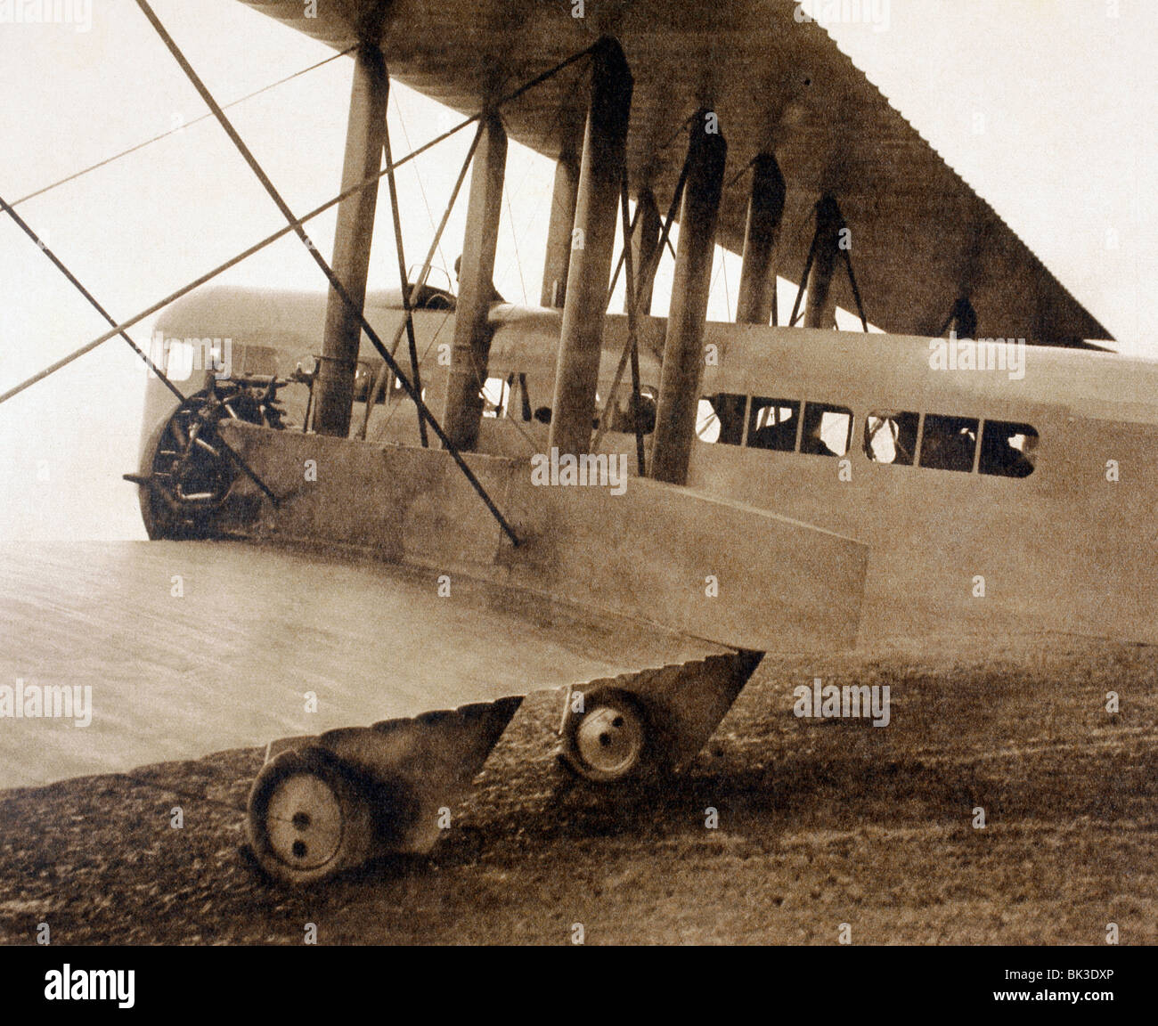 The Farman F.60 Goliath passenger biplane with seating for twelve passengers. Detail showing open cockpit and fuselage. - Stock Image