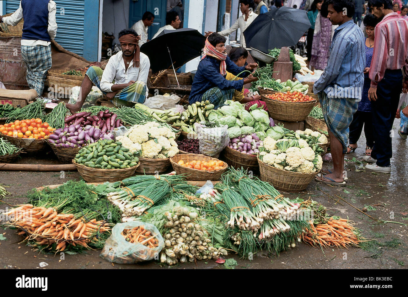 Vegetable market in Kathmandu, Nepal - Stock Image