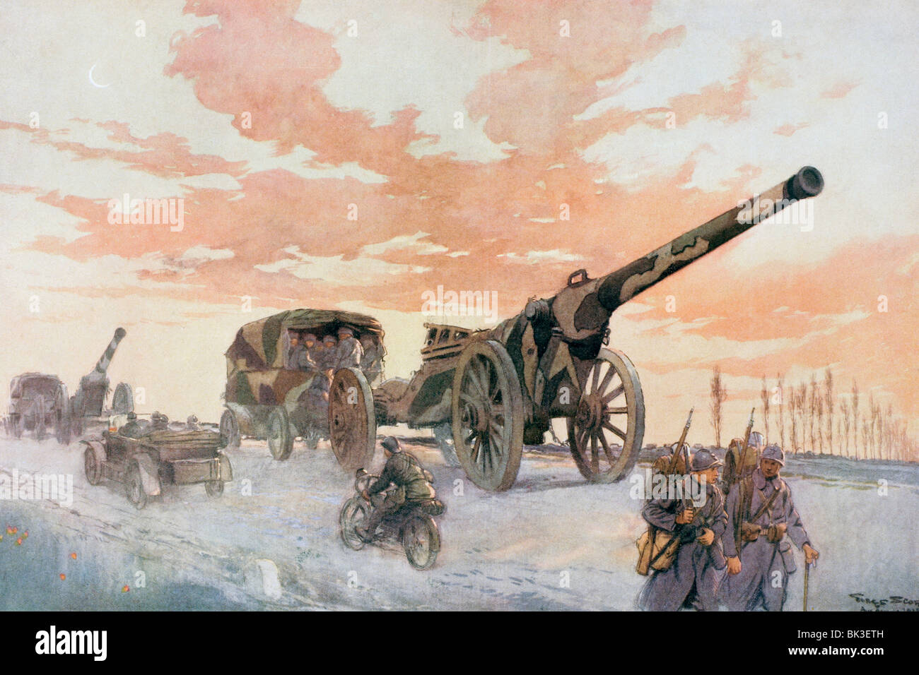 Convoy of mobile artillery during the First World War. - Stock Image