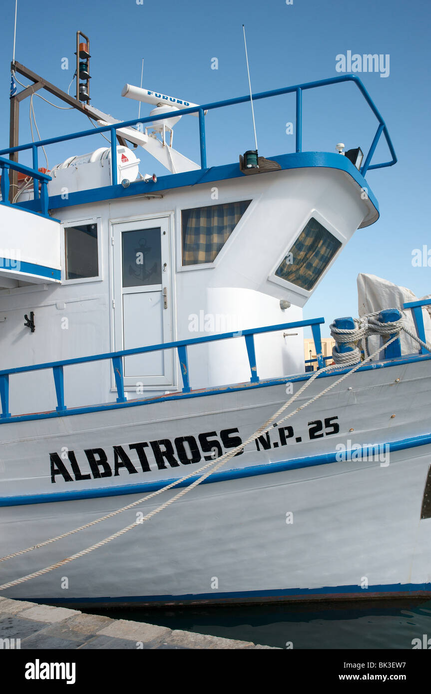 Albatross N. P. 25 traditional boat Rethymnon harbour Crete Greece - Stock Image