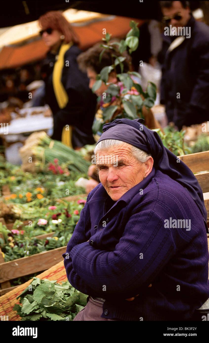 Vegetable market, Portugal - Stock Image