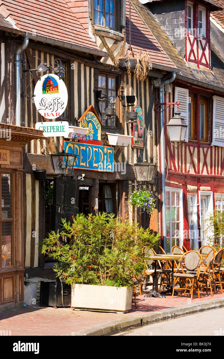 Creperie and bar in the pretty village of  Beuvron en Auge, Pays d'Auge, Calvados Normandy, France - Stock Image