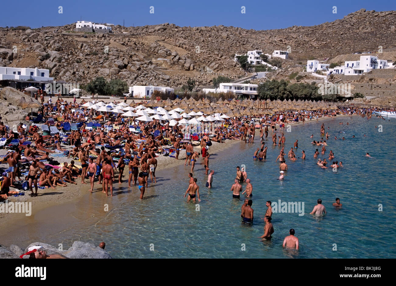 Super Paradise beach, Mykonos island, Greece Stock Photo