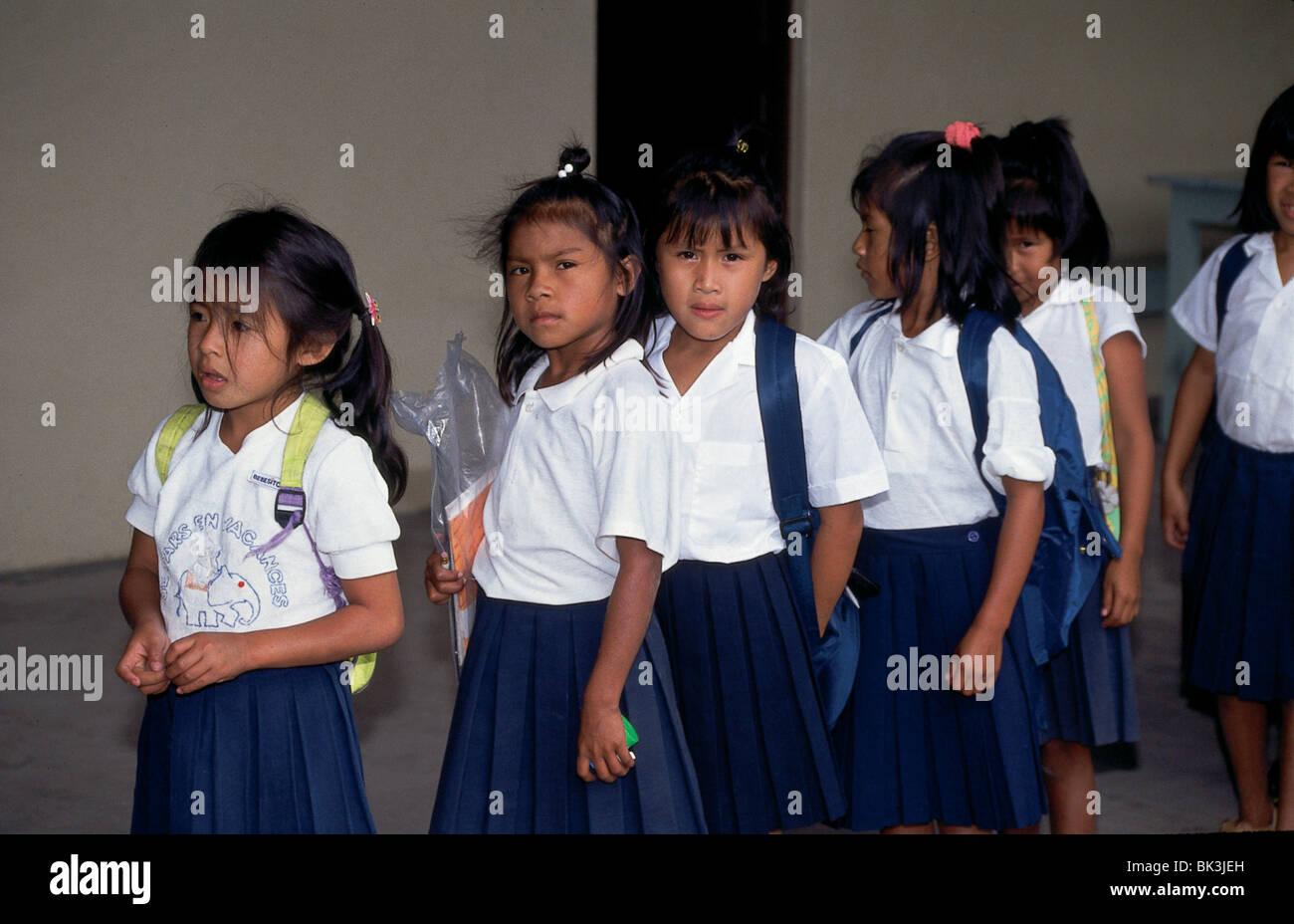 be03ea54c7a0 Indian Village School, Capuchina Mission Students in Uniforms, Venezuela