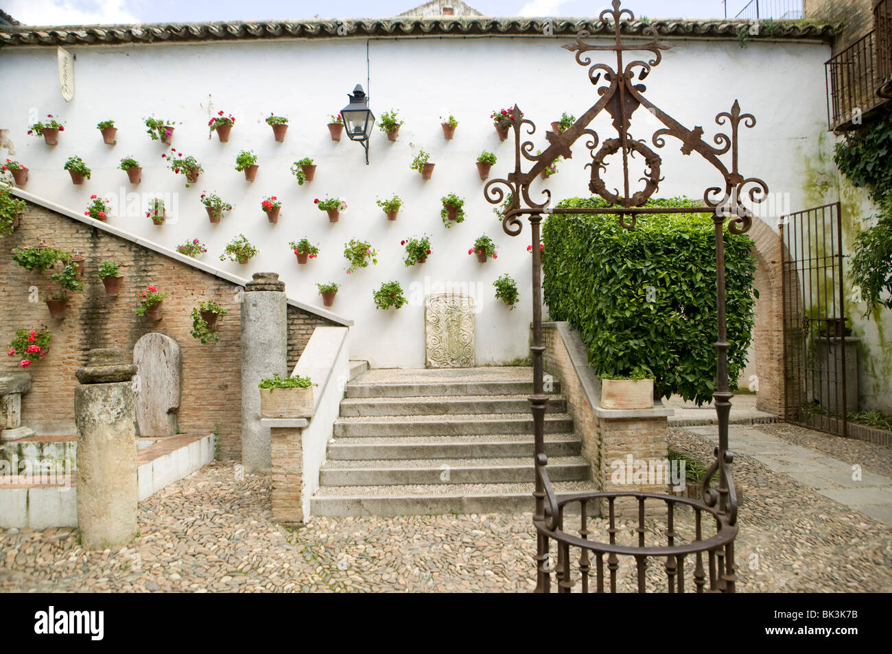 House andalucia Cordoba Spain patio typical culture well sefarat - Stock Image