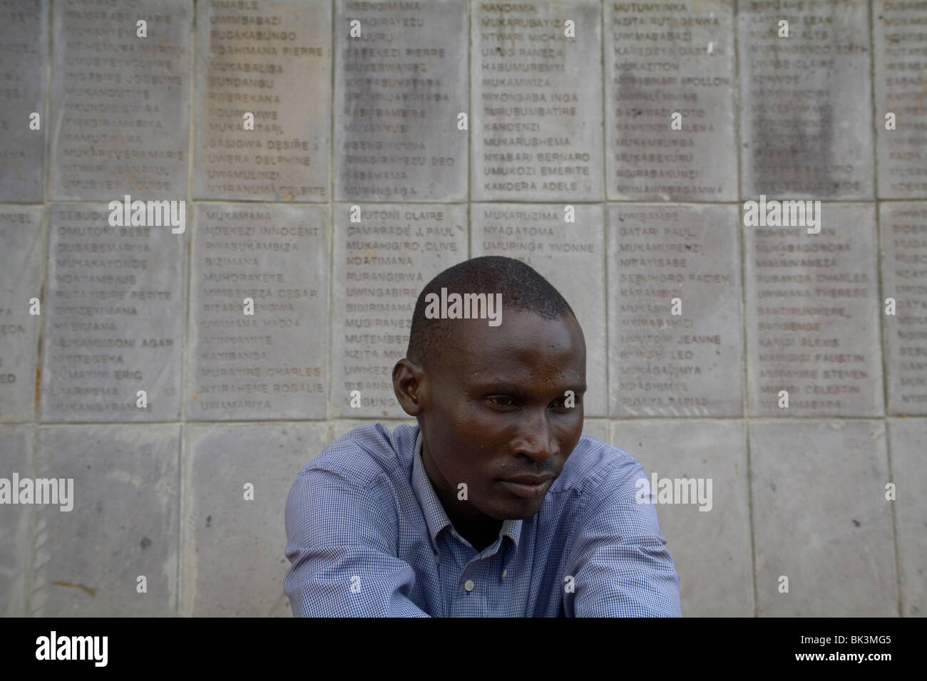 Narcisse Mupagasi one of  five that survived genocide in Nharama. Today he collects the names of Tutsis killed in - Stock Image