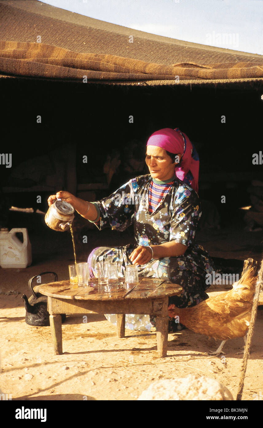 Woman pouring tea as a chicken looks on, Meknes Province, Morocco - Stock Image