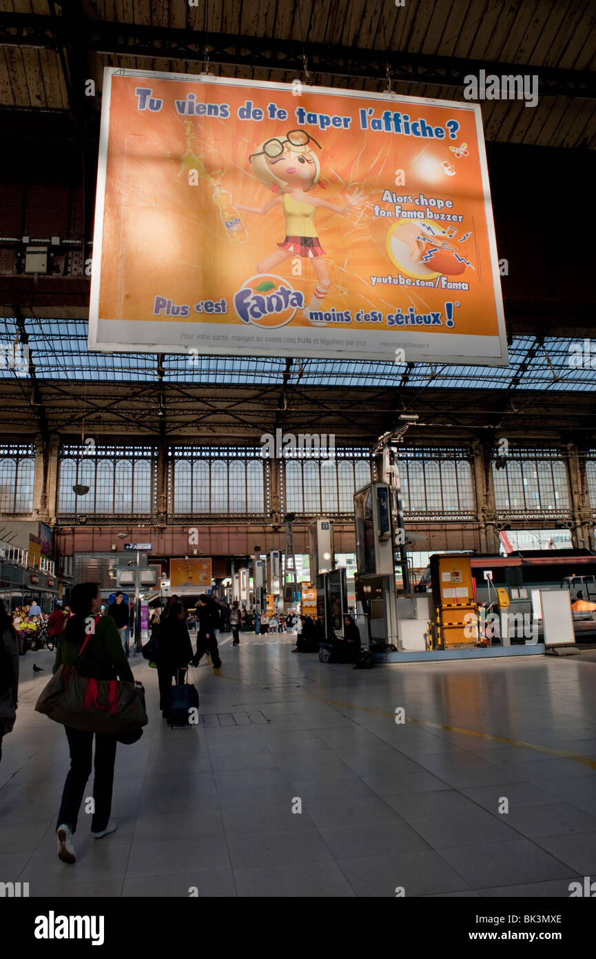 "Paris, France, People ""Gare d'Austerlitz"" Train Station, Billboard, French Advertising Soft Drinks Stock Photo"