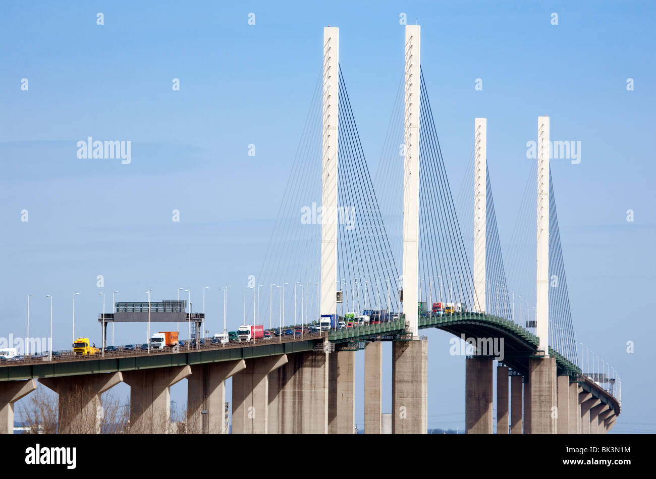 Queen Elizabeth 11 Suspension bridge, the Dartford Crossing, Dartford, Kent, UK - Stock Image