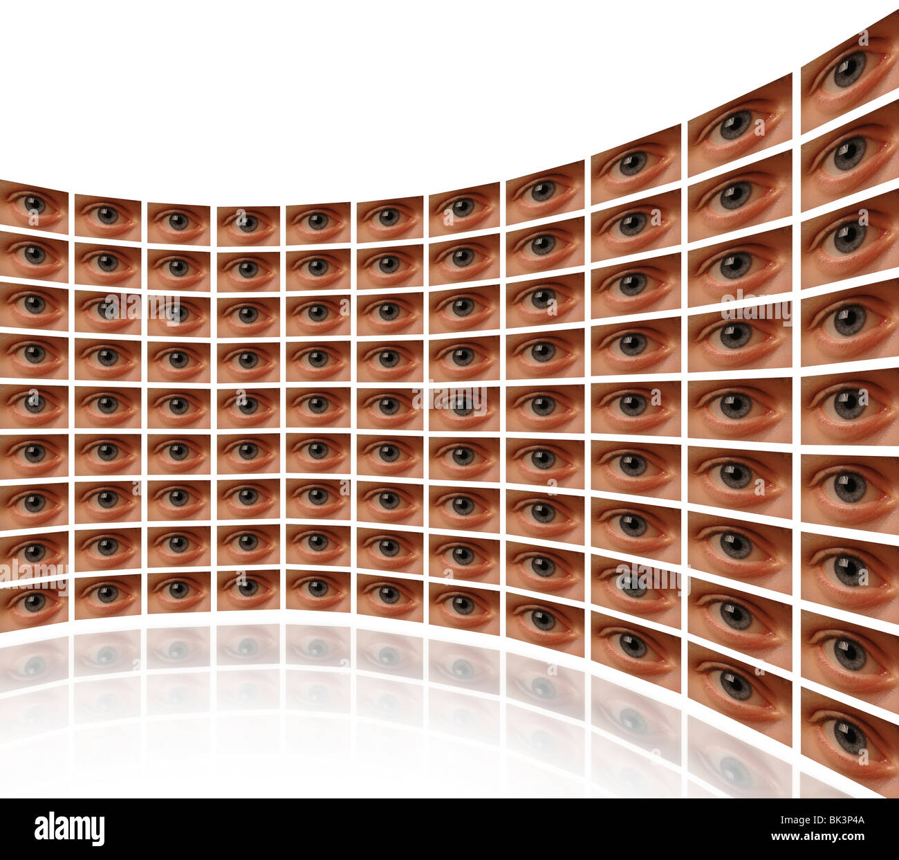 Curved wall of video screens with eyes White background - Stock Image