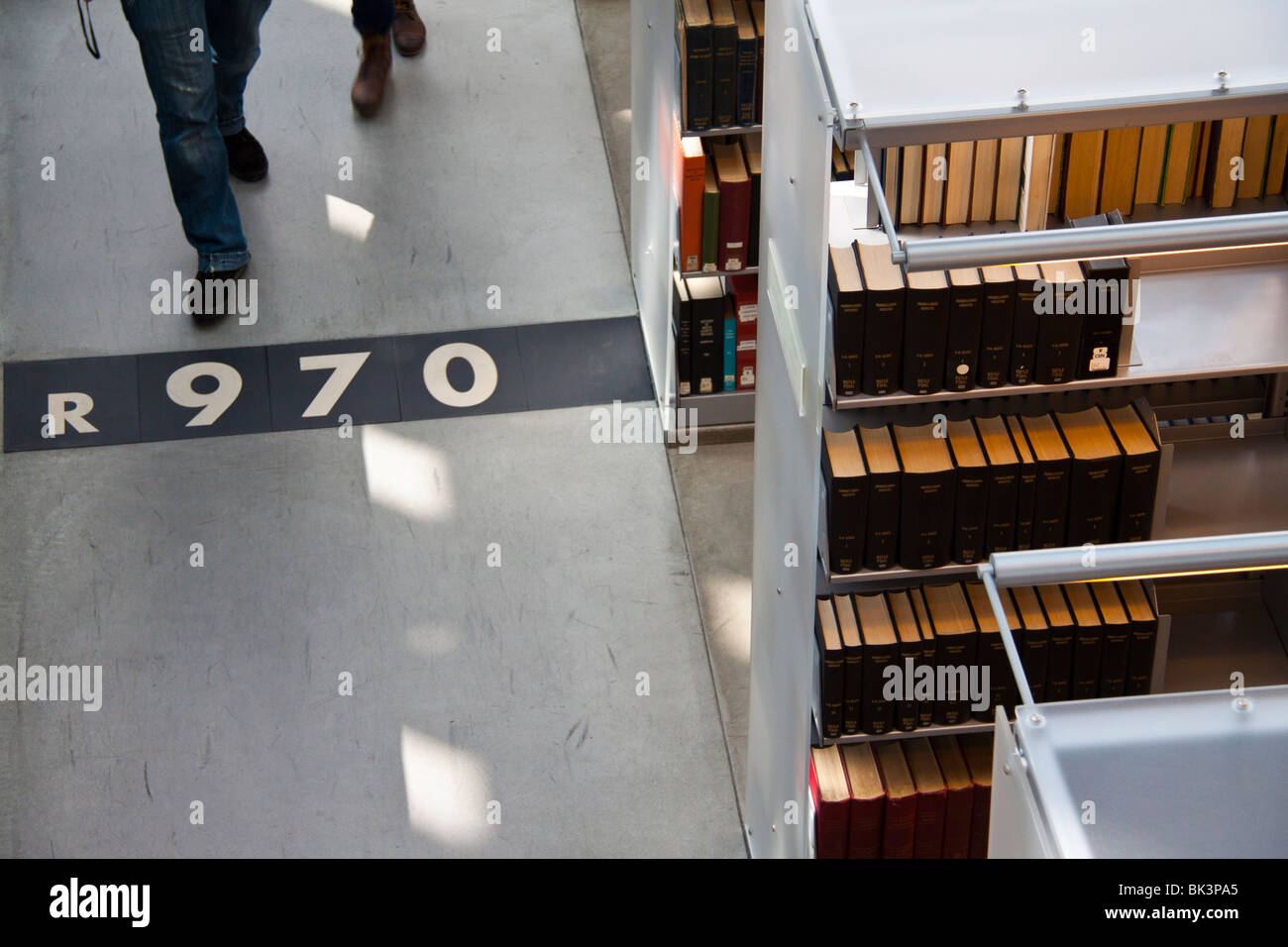 Dewey decimal classification numbers on floor of the downtown main branch, Seattle Public Library, Seattle, Washington - Stock Image
