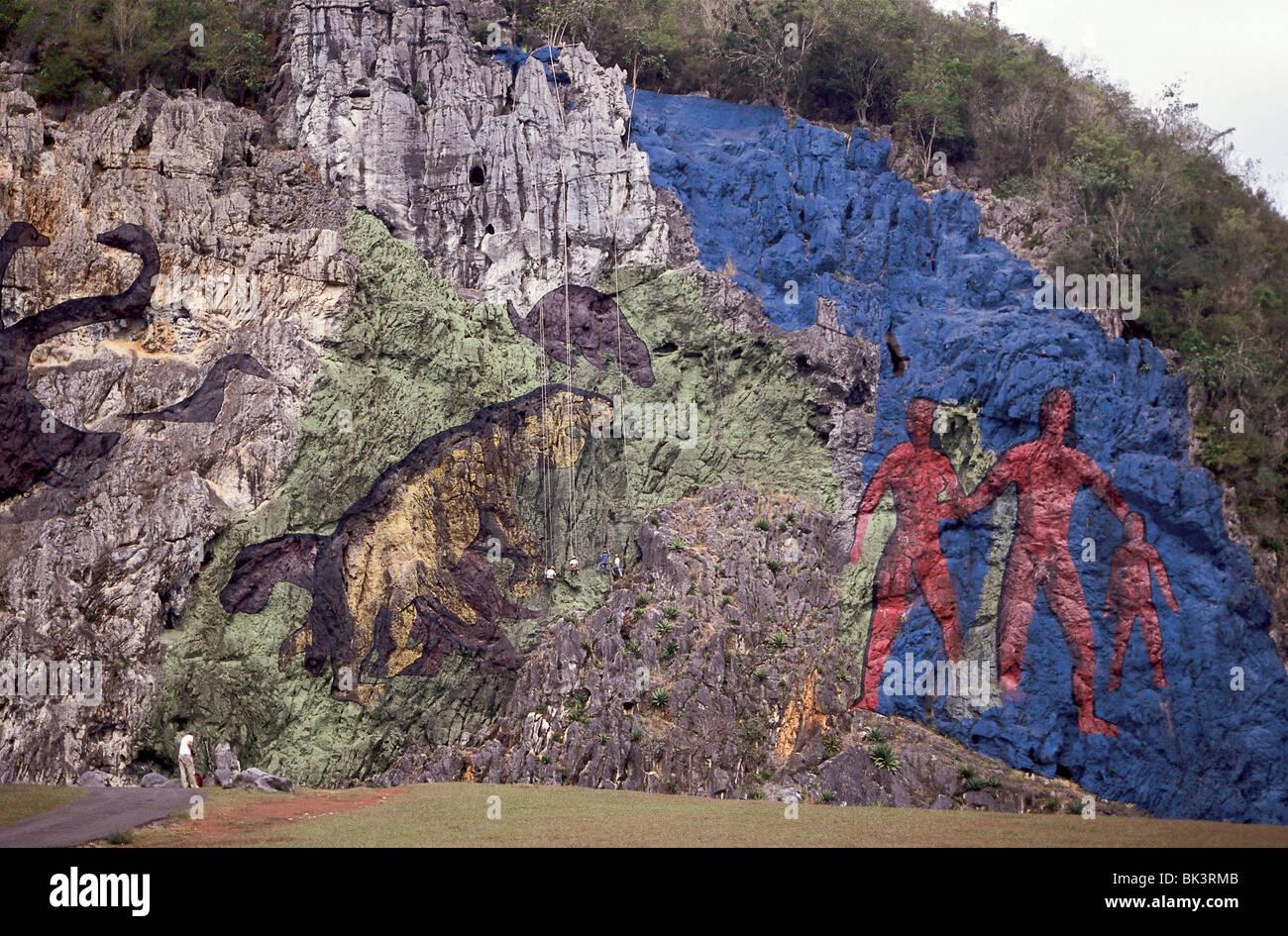 Mural de la Prehistoria (The Mural of Prehistory) measures 120 meters by 180 meters & depicts evolution of humans - Stock Image