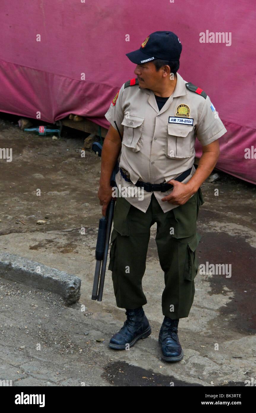 Security Guard Solola region Guatemala - Stock Image