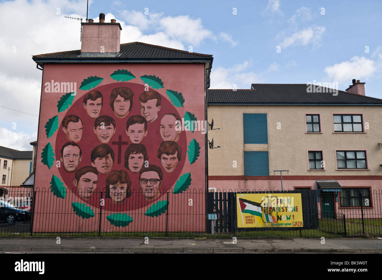 Bloody Sunday mural in Derry/Londonderry depicting the victims who died. - Stock Image