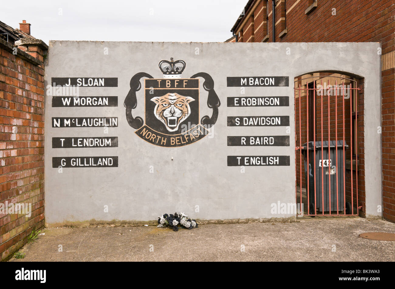 Mural in Tiger Bay, Belfast, commemorating loyalists who were killed in the troubles. - Stock Image