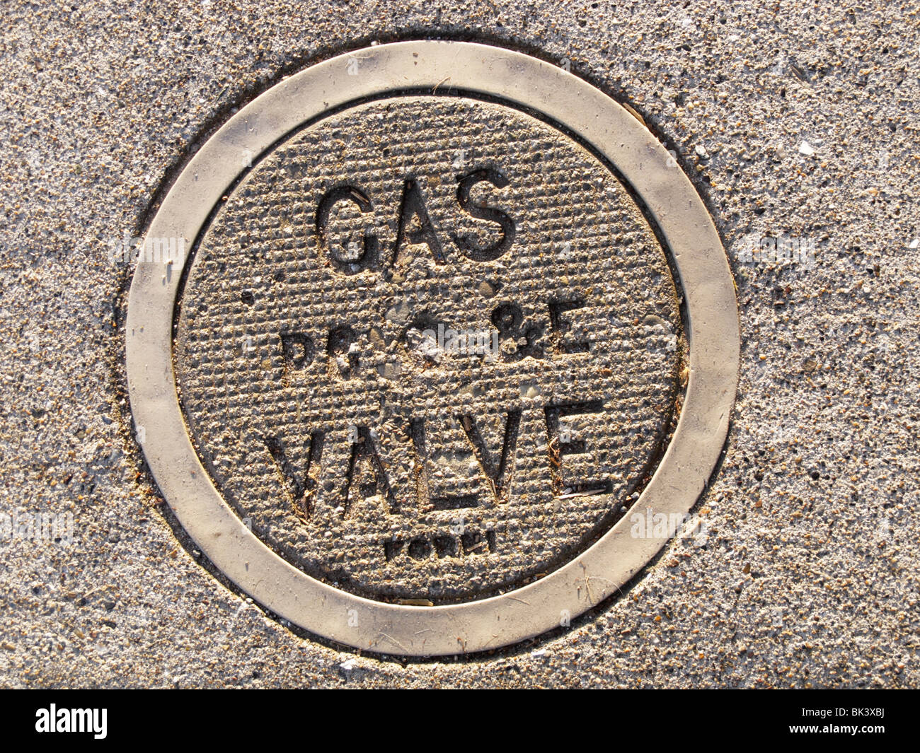 A gas valve lid at a walkway - Stock Image