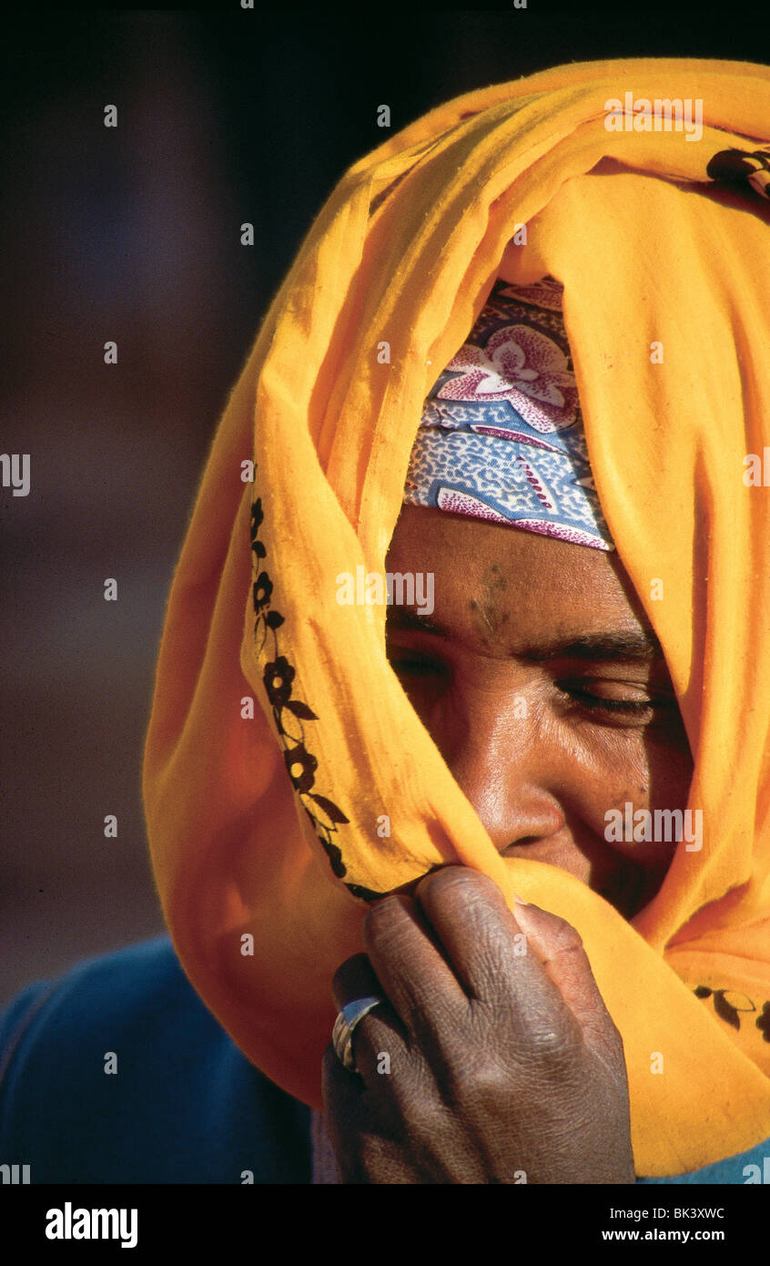 Portrait of a woman wearing a hijab, Morocc0 - Stock Image