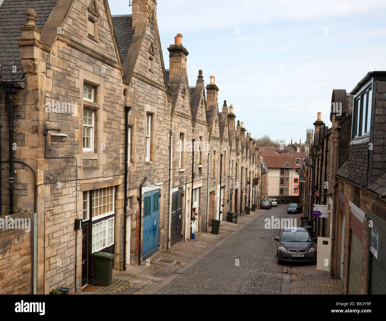 Douglas Gardens Mews, a small street of residences and small businesses in the quiet Dean Village area of Edinburgh, - Stock Image