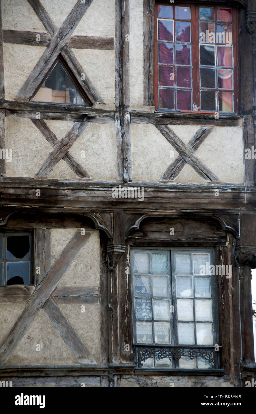 Half timbered house in Moulins. Allier. Auvergne. France. Stock Photo