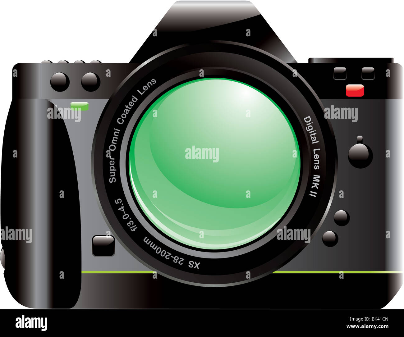 Drawing of digital SLR camera isolated on white background - Stock Image